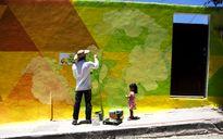 Sơn 209 căn nhà tạo thành bức tranh tường khổng lồ