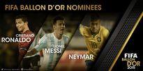 Neymar tranh Quả bóng vàng 2015 với Ronaldo và Messi
