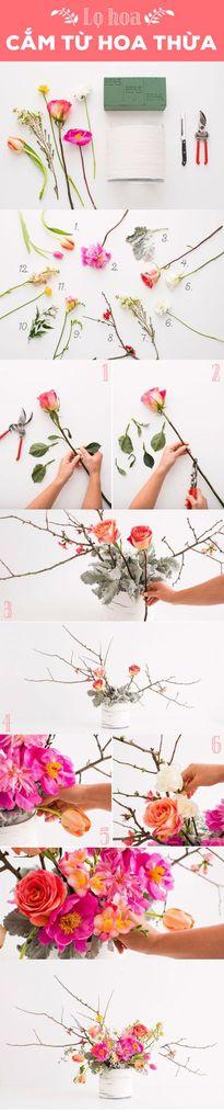 5 kiểu cắm nhặt nhạnh toàn hoa thừa hoa cụt mà vẫn xinh