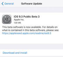 Apple phát hành bản beta 3 của iOS 9.3
