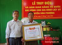 Truy tặng Bằng 'Tổ quốc ghi công' cho liệt sỹ ở Đô Lương