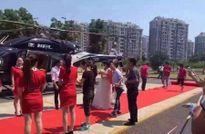 Cặp đôi TQ vung tiền thuê trực thăng đưa đến đám cưới