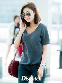 Kim Ha Neul xuất hiện ở sân bay với kiểu tóc mới