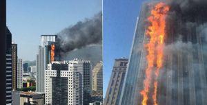 Kinh hoàng cảnh tượng lửa cháy ngùn ngụt dọc tòa cao ốc 32 tầng