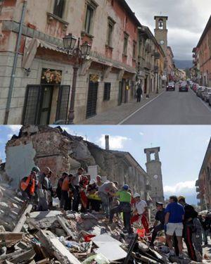 Chùm ảnh: Động đất ngày 24/8 đã biến thị trấn Italy thành đống hoang tàn như thế nào?