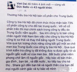 Người bán bia Huda lên Facebook nói xấu bia Hà Nội bị phạt tiền