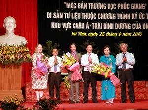 Hà Tĩnh: Đón bằng Di sản tư liệu 'Mộc bản Trường học Phúc Giang'