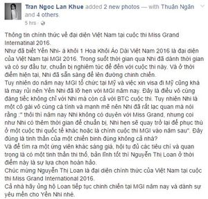 Nguyễn Thị Loan bất ngờ thay thế Yến Nhi dự thi Miss Grand International 2016