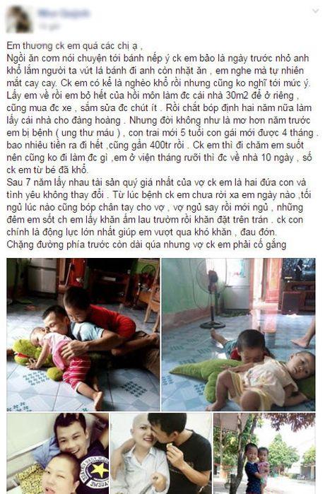 "Nguoi vo ung thu va cau chuyen roi nuoc mat: ""Em thuong chong em qua"" - Anh 1"