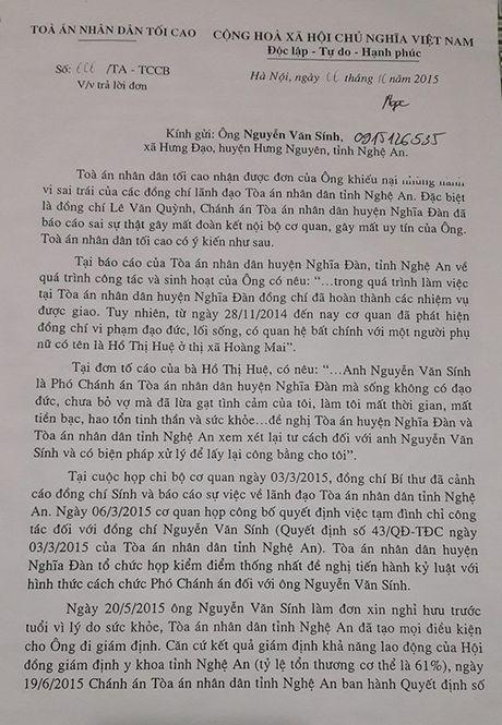 TAND tinh Nghe An ''phot lo' cac noi dung khieu nai cua ong Nguyen Van Sinh? - Anh 2