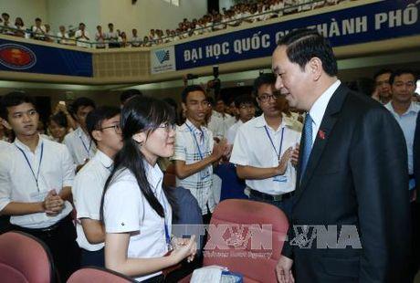 Chu tich nuoc du Le Khai khoa tai Dai hoc Quoc gia TPHCM - Anh 2