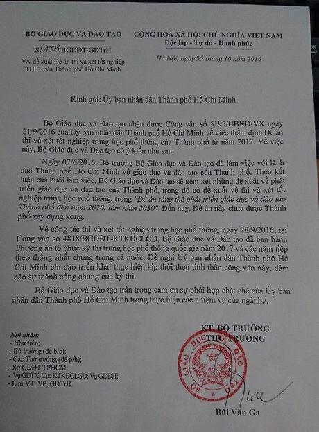 Bo Giao duc khong dong y cho Thanh pho Ho Chi Minh thi rieng - Anh 1