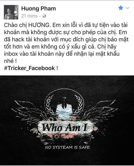 Hacker gui 'tam thu' cho Pham Huong khi hack tai khoan Facebook - Anh 1