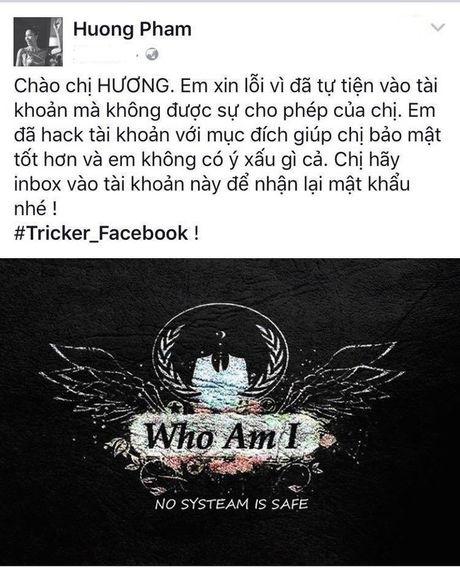 Pham Huong da lay lai duoc Facebook ca nhan sau khi bi hacker tan cong - Anh 3