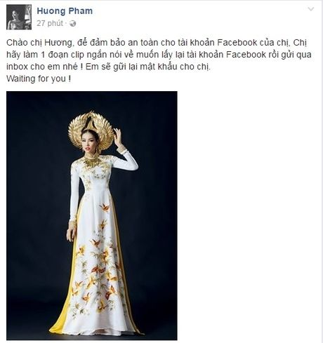 Pham Huong da lay lai duoc Facebook ca nhan sau khi bi hacker tan cong - Anh 4