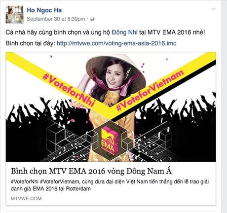 Hang loat sao Viet keu goi ung ho Dong Nhi tai EMA 2016 - Anh 1