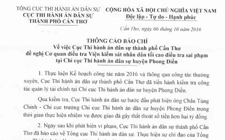 Can Tho:Chi cuc truong Thi hanh an dan su gay that thoat hon 2 ty dong - Anh 1