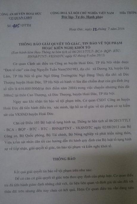 Tiep bai, Huyen Hoai Duc (Ha Noi): Cap so do tren manh dat ma: Nguoi bi hai de nghi chuyen tham quyen dieu tra len co quan cap tren - Anh 2