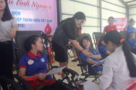 500 sinh vien truong Dai hoc Ha Tinh tham gia hien mau nhan dao - Anh 1