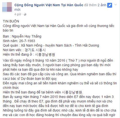 Mot lao dong chet tai Han Quoc, gia dinh khong co tien mang thi the ve nuoc - Anh 2