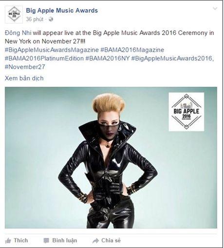 Dong Nhi se den New York, truc tiep tham du 'Big Apple Music Awards'? - Anh 1