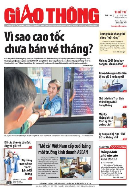 Bao Giao thong 12/10: Ve thang cao toc, su that may loc khong khi - Anh 1