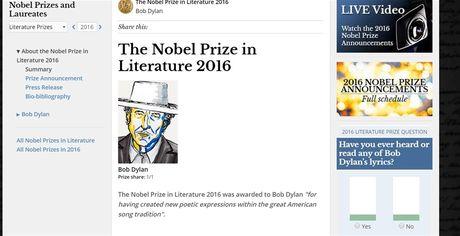 Bob Dylan duoc trao giai Nobel Van hoc 2016 - Anh 2