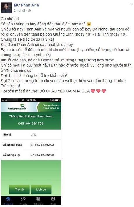 'Viet Nam noi la lam' day nay, chua day 24h Phan Anh da keu goi giup do dong bao mien Trung duoc 2,2 ti! - Anh 1