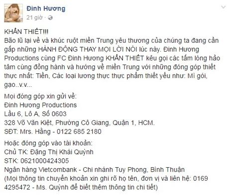 Cac sao Viet cung dang cung chung tay giup do dong bao lu lut mien Trung - Anh 9