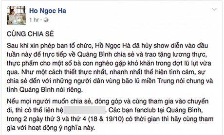 Ho Ngoc Ha huy dien, ve que Quang Binh ho tro dong bao vung lu - Anh 1