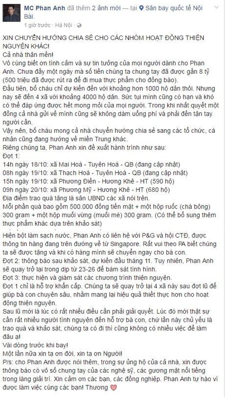 MC Phan Anh thong bao bat ngo sau 8 ty ve tai khoan trong 1 ngay keu goi ung ho ron lu Mien Trung - Anh 1