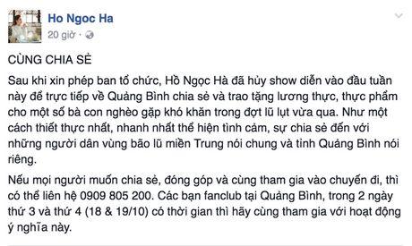 Ho Ngoc Ha huy show, dua Su Beo ve que Quang Binh cuu tro dong bao chiu thien tai - Anh 1