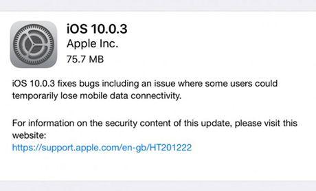iPhone 7 nhan ban iOS 10.0.3, sua loi mat song - Anh 2