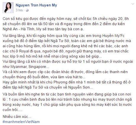Hoa hau My Linh day dut vi chua the ve mien Trung cuu tro - Anh 2